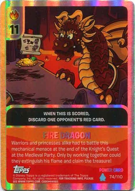 Club Penguin Card-Jitsu Water Series 4 Foil Power Card Fire Dragon #74