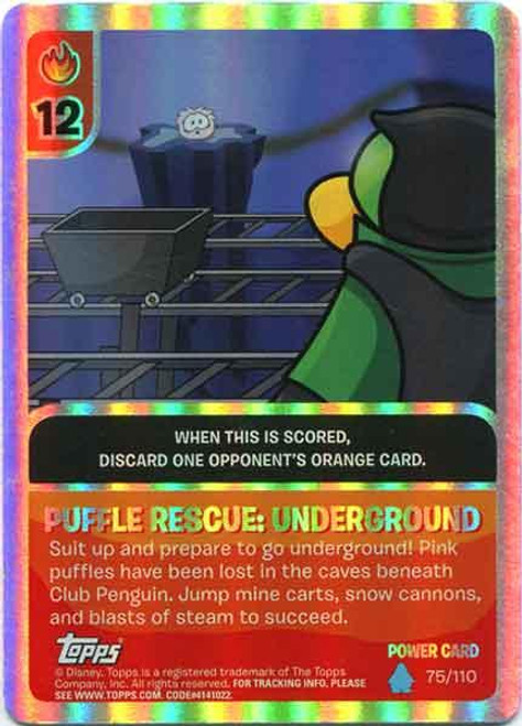 Club Penguin Card-Jitsu Water Series 4 Foil Power Card Puffle Rescue:Underground #75