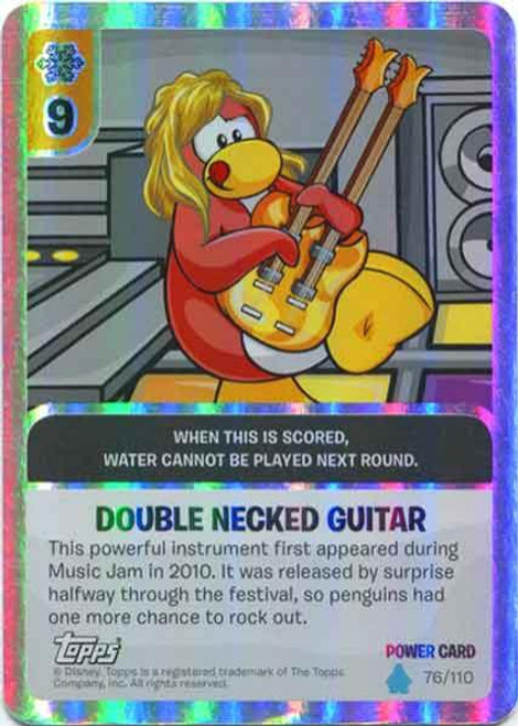 Club Penguin Card-Jitsu Water Series 4 Foil Power Card Double Necked Guitar #76