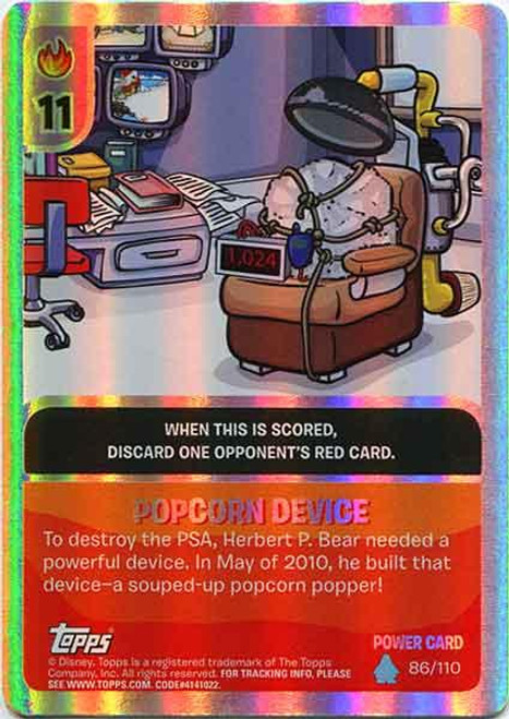 Club Penguin Card-Jitsu Water Series 4 Foil Power Card Popcorn Device #86