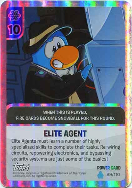 Club Penguin Card-Jitsu Water Series 4 Foil Power Card Elite Agent #89