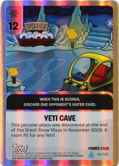 Club Penguin Card-Jitsu Water Series 4 Foil Power Card Yeti Cave #91
