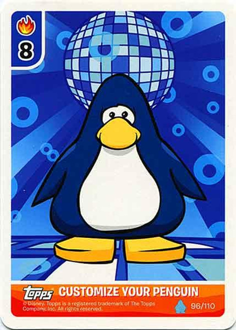 Club Penguin Card-Jitsu Water Series 4 Customize Your Penguin Blue Disco - Dark Blue Penguin #96