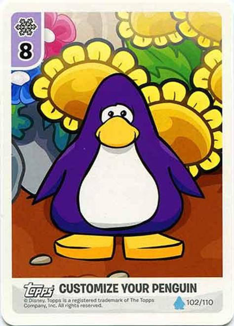 Club Penguin Card-Jitsu Water Series 4 Customize Your Penguin Flowers - Purple Penguin #102