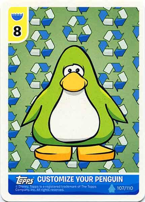 Club Penguin Card-Jitsu Water Series 4 Customize Your Penguin Recycling - Lime Green Penguin #107