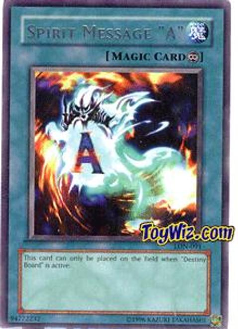 "YuGiOh Labyrinth of Nightmare Rare Spirit Message ""A"" LON-091"