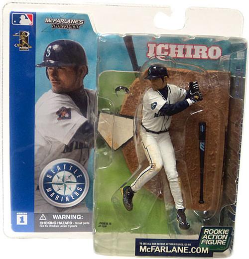 McFarlane Toys MLB Seattle Mariners Sports Picks Series 1 Ichiro Suzuki Action Figure [White Jersey Dirty Pants Variant, Damaged Package]