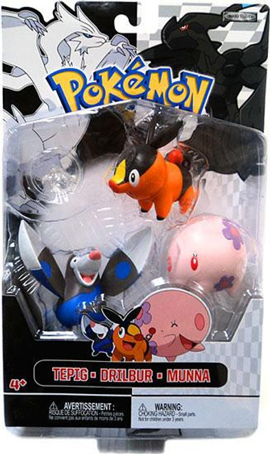 Pokemon Black & White Series 2 Basic Drilbur, Tepig & Munna Figure 3-Pack