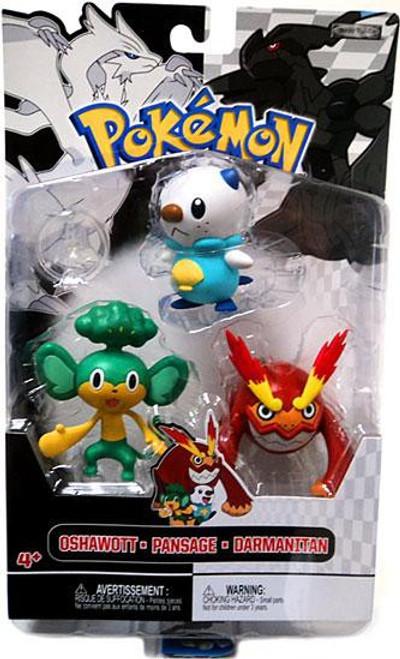 Pokemon Black & White Series 2 Basic Darmanitan, Oshawott & Pansage Figure 3-Pack