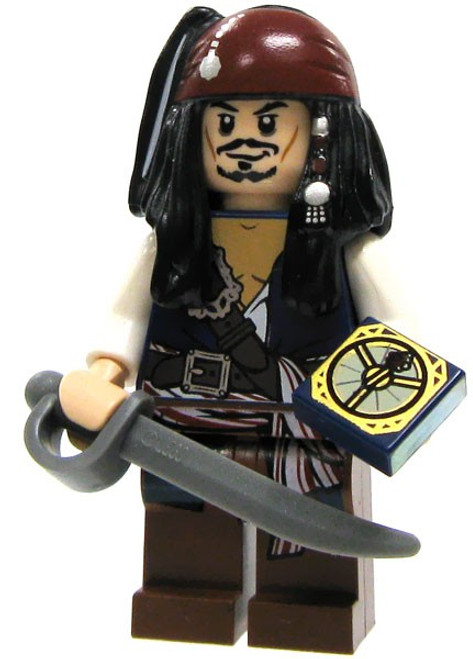 LEGO Pirates of the Caribbean Loose Captain Jack Sparrow Minifigure [Cutlass & Compass Loose]