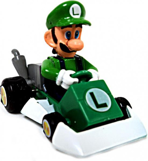 Super Mario Mario Kart Gacha Luigi 1 1/2-Inch Pull Back Racer [Square Front Bumper]