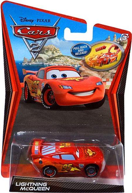 Disney Cars Cars 2 Pull Back Racers Lightning McQueen Diecast Car [Pull Back]