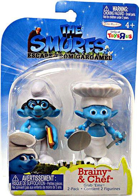 The Smurfs Movie Grab 'Ems Brainy & Chef Exclusive Mini Figure 2-Pack