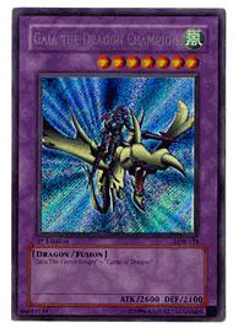 YuGiOh Legend of Blue Eyes White Dragon Secret Rare Gaia the Dragon Champion LOB-125