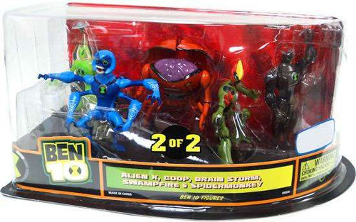 Ben 10 Alien X, Goop, Brain Storm, Swampfire & Spidermonkey Exclusive Action Figure 4-Pack #2