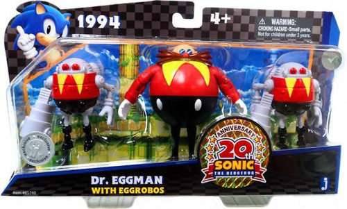 Sonic The Hedgehog 20th Anniversary Dr. Eggman with Eggrobos Action Figure 3-Pack [1994]