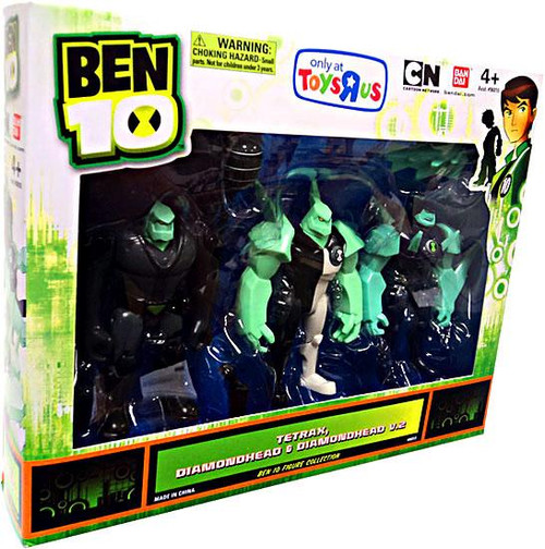 Ben 10 Tetrax, Diamondhead & Diamondhead V.2 Exclusive Action Figure 3-Pack