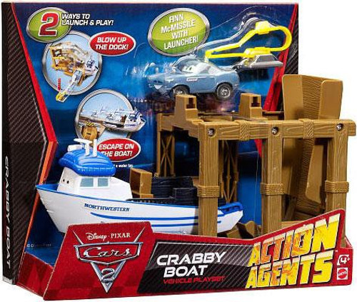 Disney Cars Cars 2 Action Agents Crabby Boat Plastic Car Playset