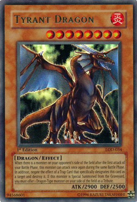 YuGiOh Legacy of Darkness Ultra Rare Tyrant Dragon LOD-034