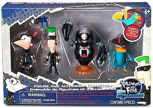 Disney Phineas and Ferb Across the 2nd Dimension Phineas, Ferb, Agent P & Normbot Exclusive Action Figure 4-Pack