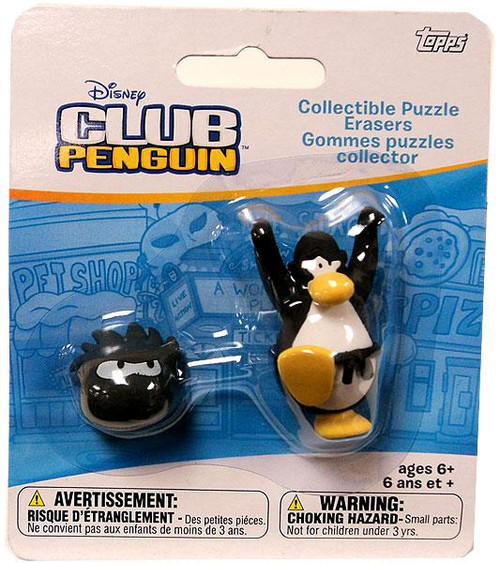 Club Penguin Collectible Puzzle Erasers Black Penguin & Random Puffle Eraser 2-Pack
