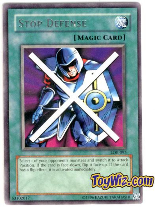 YuGiOh Legend of Blue Eyes White Dragon Rare Stop Defense LOB-095