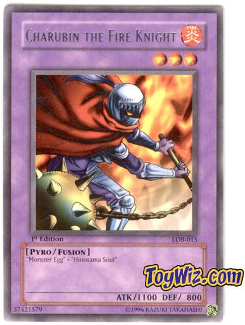 YuGiOh Legend of Blue Eyes White Dragon Rare Charubin the Fire Knight LOB-015