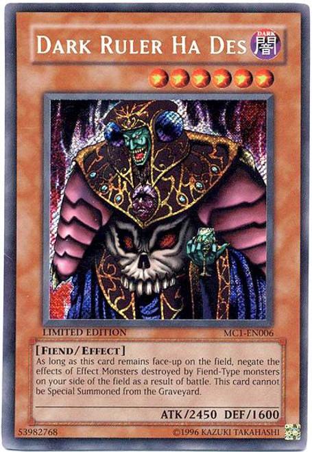 YuGiOh Master Collection 1 Secret Rare Dark Ruler Ha Des MC1-EN006