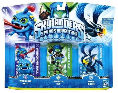 Skylanders Spyro's Adventure Wrecking Ball, Stealth Elf & Sonic Boom Figure 3-Pack