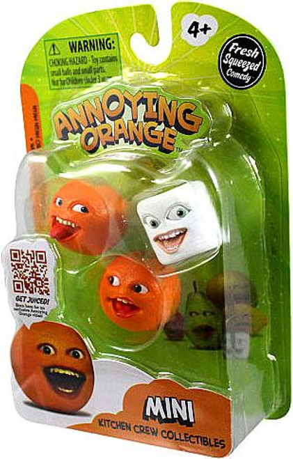 Annoying Orange Kitchen Crew Collectibles Nyah Nyah Orange, Marshmallow & Whoa Orange Mini Figure 3-Pack