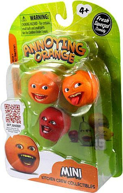 Annoying Orange Kitchen Crew Collectibles Laughing Orange, Midget Apple & Nyah Nyah Orange Mini Figure 3-Pack