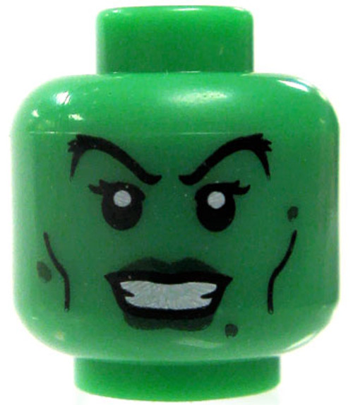 LEGO Minifigure Parts Green Female Arched Eyebrows & Dark Green Lips Minifigure Head [Loose]