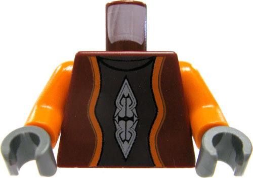 LEGO Minifigure Parts Dark Red Vest with Orange Sleeves & Printed Details Loose Torso [Loose]