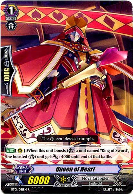 Cardfight Vanguard Descent of the King of Knights Rare Queen of Heart BT01-031