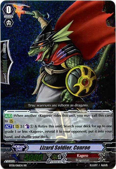 Cardfight Vanguard Descent of the King of Knights RR Rare Lizard Soldier, Conroe BT01-016