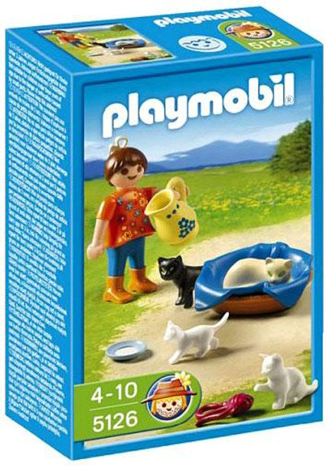 Playmobil Farm Girl with Cats and Kittens Set #5126