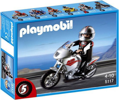 Playmobil Transport Gray Motorcycle with Rider Set #5117