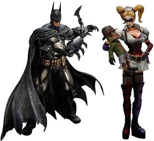Arkham Asylum Play Arts Kai Armored Batman & Harley Quinn Action Figures