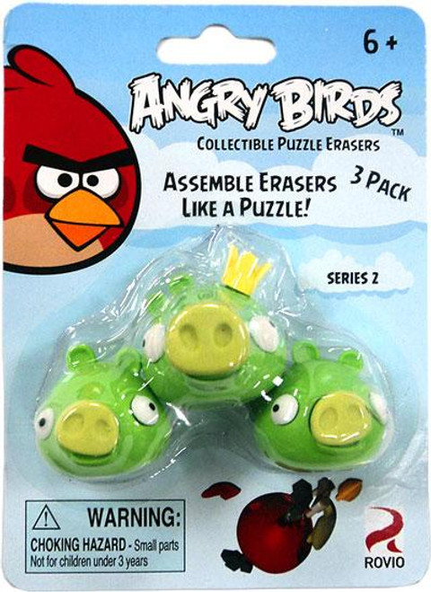 Collectible Puzzle Erasers Series 2 Angry Birds Eraser 3-Pack [3 Pigs]