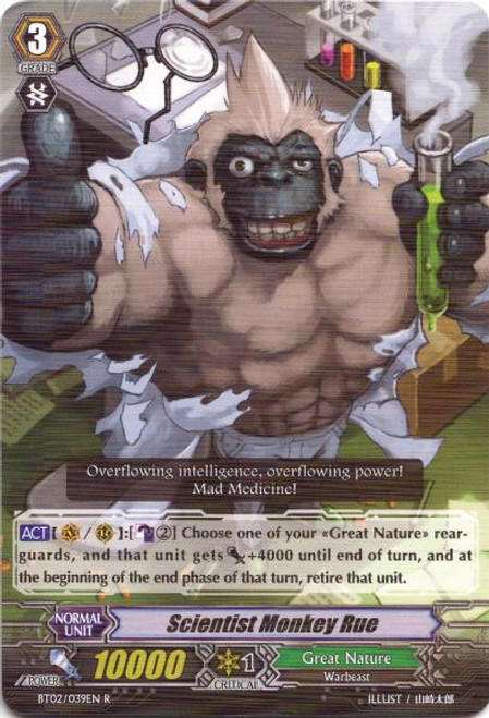 Cardfight Vanguard Onslaught of Dragon Souls Rare Scientist Monkey Rue BT02-039