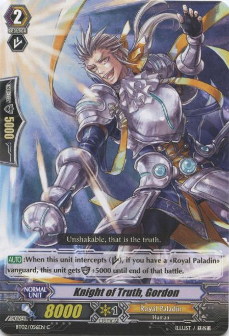Cardfight Vanguard Onslaught of Dragon Souls Common Knight of Truth, Gordon BT02-056