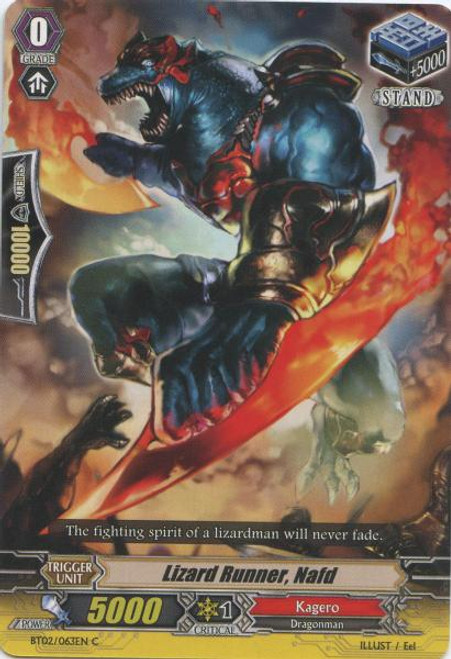 Cardfight Vanguard Onslaught of Dragon Souls Common Lizard Runner, Nafd BT02-063