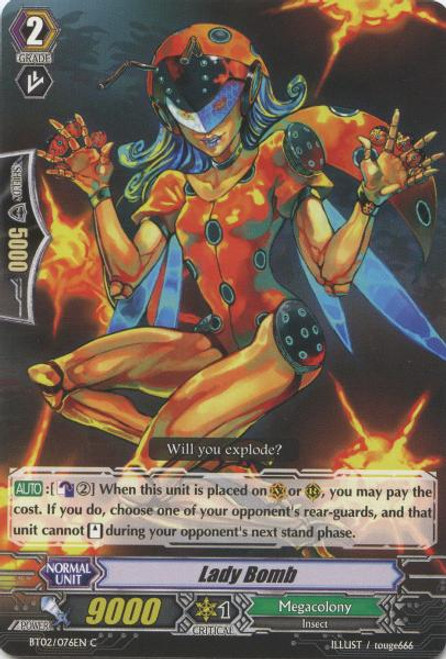 Cardfight Vanguard Onslaught of Dragon Souls Common Lady Bomb BT02-076