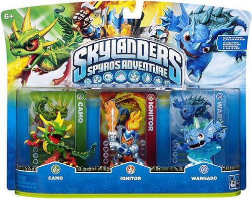 Skylanders Spyro's Adventure Camo, Ignitor & Warnado Figure 3-Pack