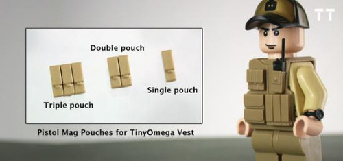 Tiny Tactical Pistol Magazine Double Pouch [Dark Tan]
