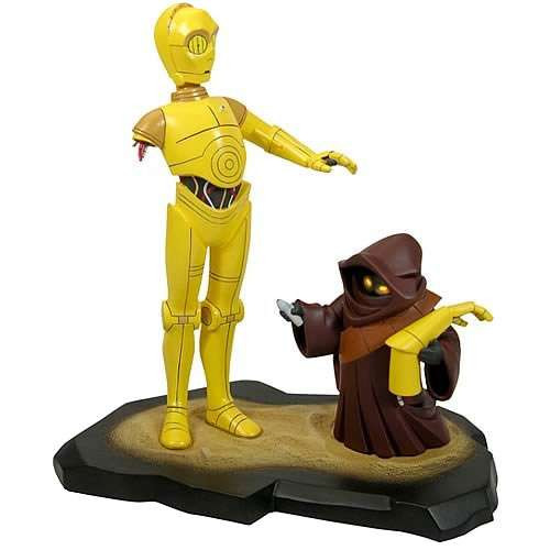 Star Wars Animated C-3PO with Jawa 8.5-Inch Maquette Statue