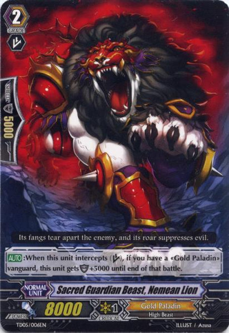 Cardfight Vanguard Slash of the Silver Wolf Fixed Sacred Guardian Beast, Nemean Lion TD05/006EN