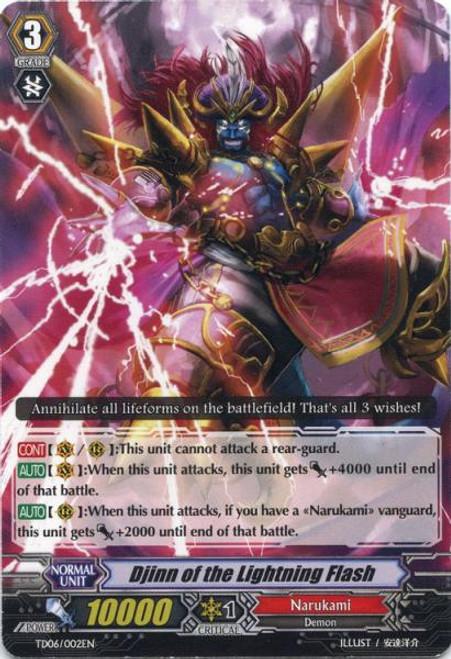 Cardfight Vanguard Resonance of the Thunder Dragon Fixed Djinn of the Lightning Flash TD06/002