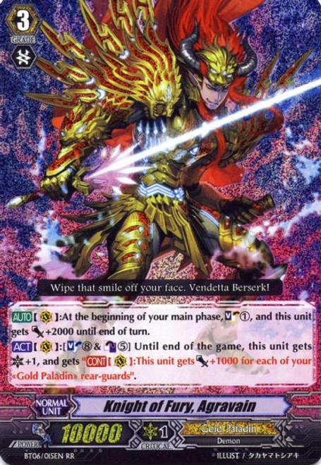 Cardfight Vanguard Breaker of Limits RR Rare Knight of Fury, Aggraveil BT06/015