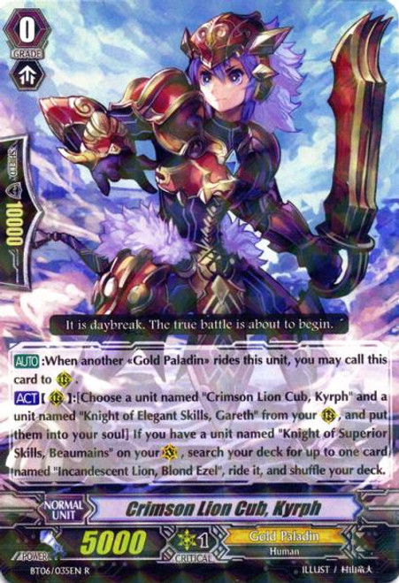 Cardfight Vanguard Breaker of Limits Rare Crimson Little Lion, Kilf BT06/035